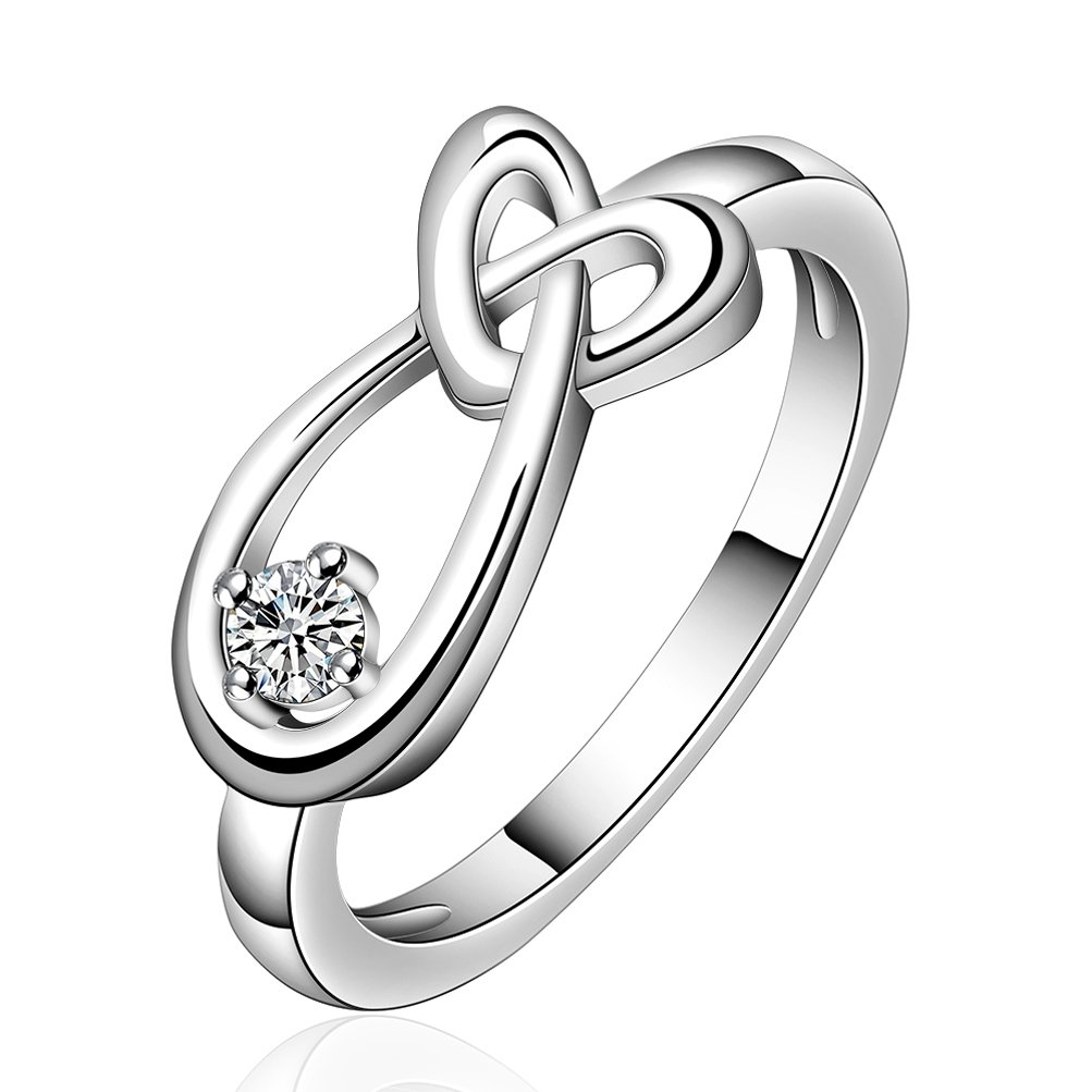 SunIfSnow Women Geometric Type Love Be Linked Together Teardrop Rhinestone Rings 7