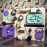 Shafa-4 Handmade Wooden Busy board, Clever Puzzles, Locks and Latches Activity Board European quality. (natural+purple+blue)
