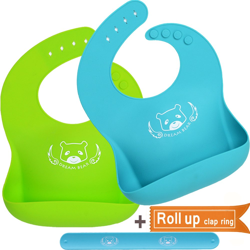 DREAM BEAR® Waterproof Soft Silicone Baby Bibs, Easy Clean With Big Roll Up Pocket.Set of 2Pack (Lime Green& Turquoise) Dream Bear Trading Co. Ltd