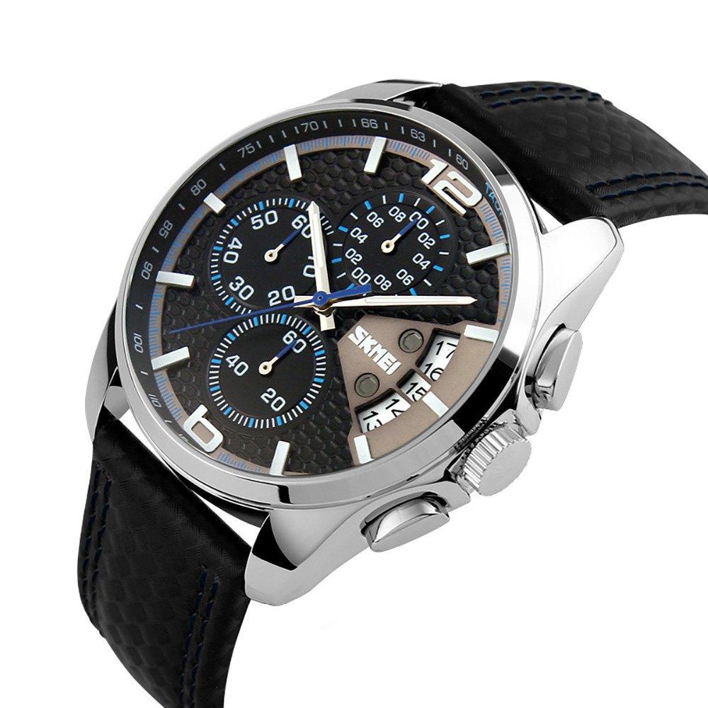 Reloj de pulsera, deportivo, con cronógrafo, para hombre, de cuarzo, resistente al agua, con fecha, Azul