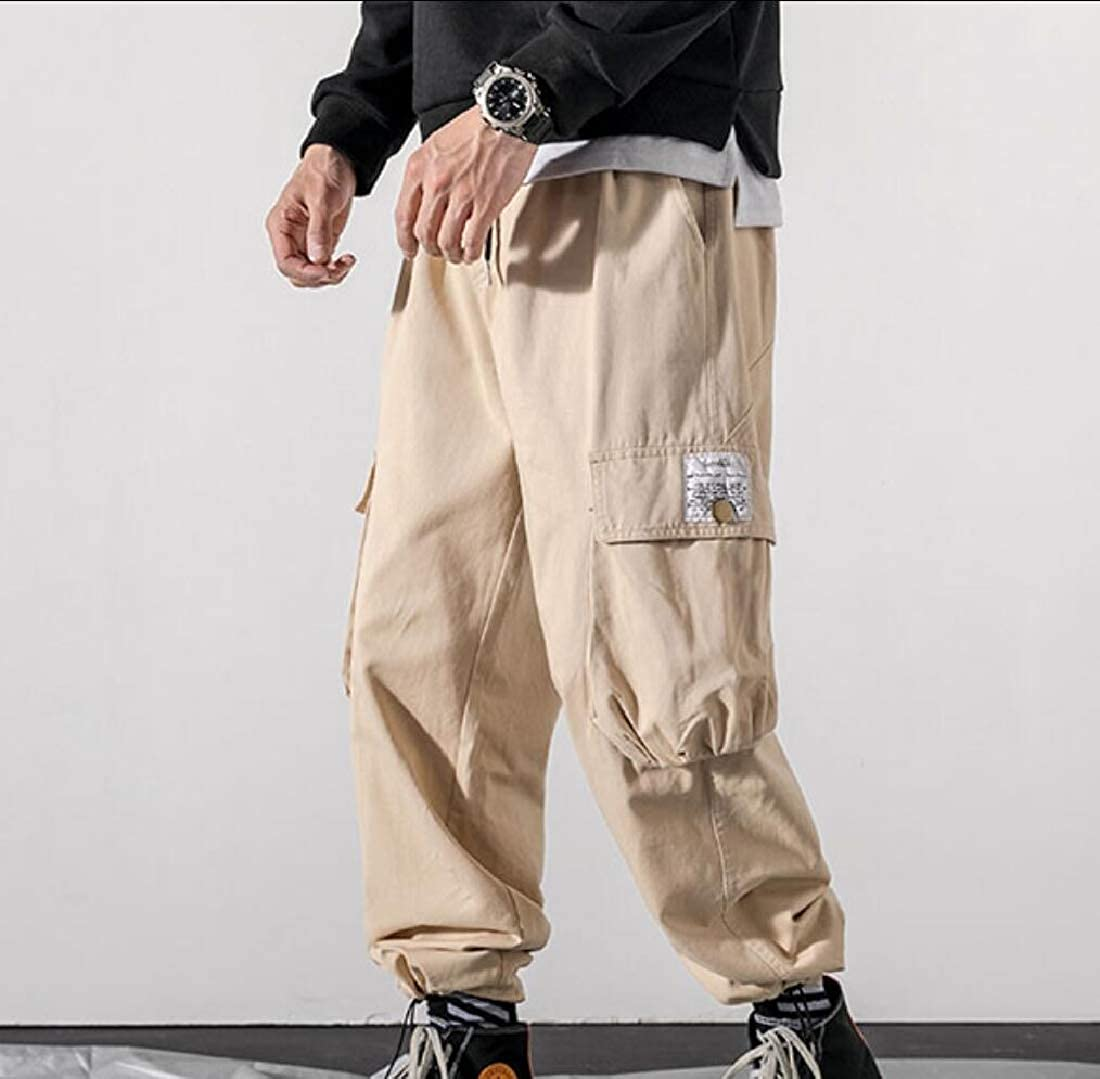 Comaba Mens Plus Size Loose Fit Harem Skinny Ankle Big Pockets Cargo Pants