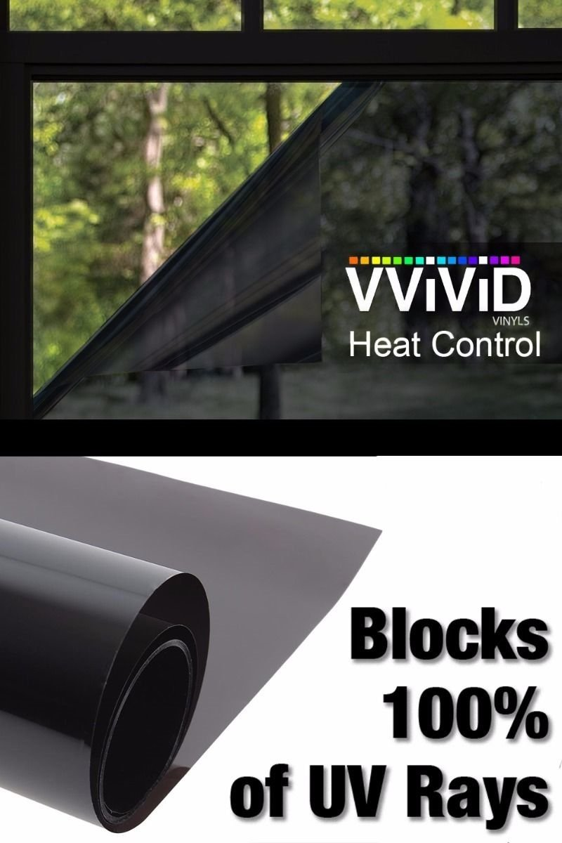 Heat Control 100% Anti UV Vinyl Wrap Dark Tint Roll for Home Residential Office Climate Control (60 Inch x 120 Inch Extra-Large roll) by VViViD