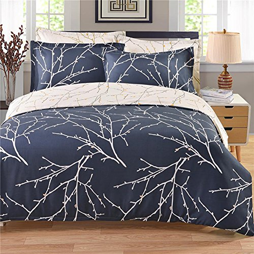 (HOLY HOME Duvet Cover Set 100% Microfiber Sanded Plush Pastoral Floral Style 2 Piece-Beddings Twin/Twin XL Size 66