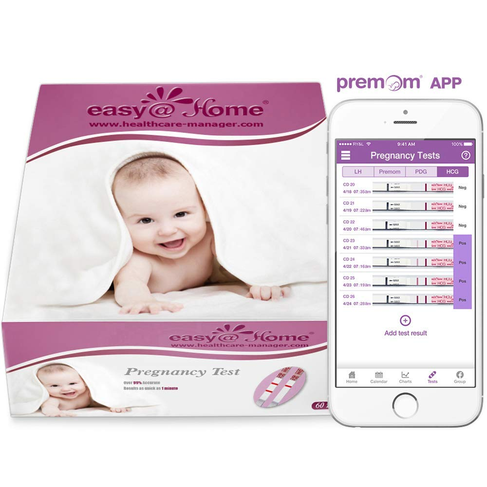 Easy@Home Branded 60 Pregnancy Tests, FSA Eligible, Powered by Premom Ovulation Predictor iOS and Android APP, 60 Tests by Easy@Home