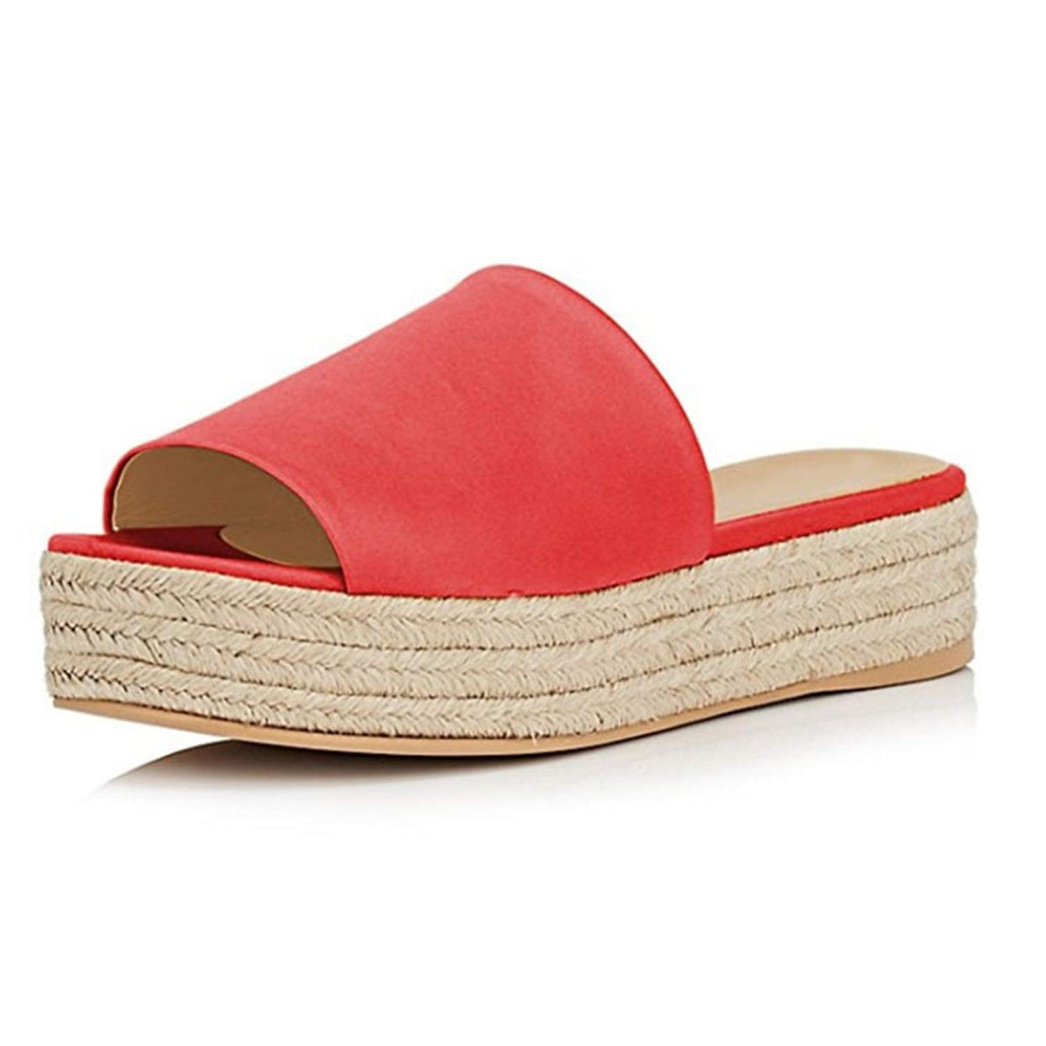 TY02 Platform Med Heel Flat Slippers Yellow Red bluee Big Size 8 9 15 Straw shoes Women's Slides Casual Summer