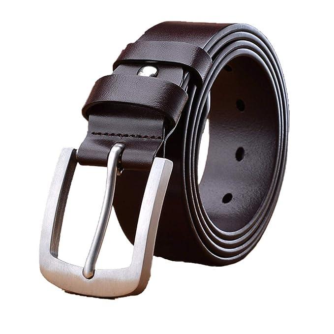 MUCO Cintura Pelle Uomo Nero Marrone Fibbia Durevole Doppio Strato In forma Casual Eleganti Jeans Cintura