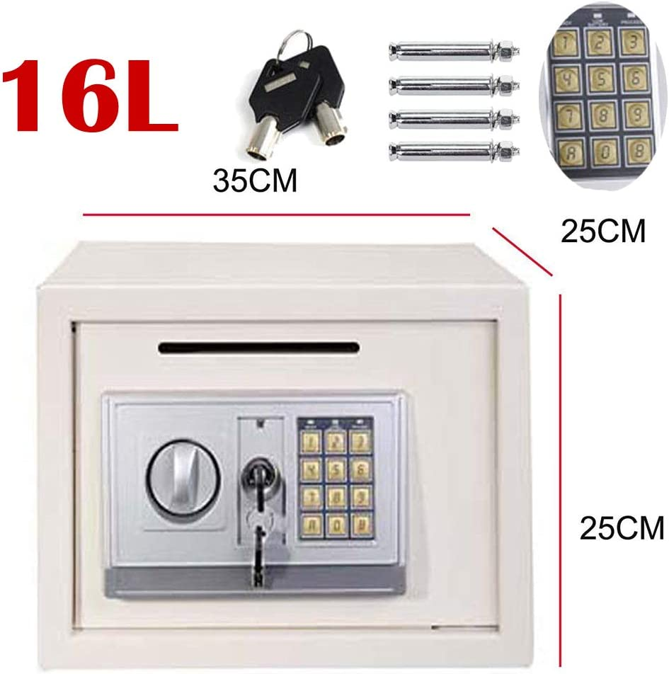 Caja de dinero con llave (llaves de anulación) Digital PIN caja fuerte para la oficina en casa empresa (35 x 25 x 25 cm), espacio grande blanco: Amazon.es: Bricolaje ...