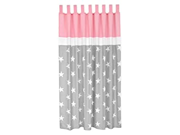 MiniFifia Curtains White Stars On Plain Grey And Pink