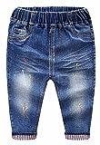 MMWORM Baby Little Boys Girls Pants Elastic Waistband Ripped Denim Pants Jeans for Toddler 2-3 Years Kids - Dark Blue