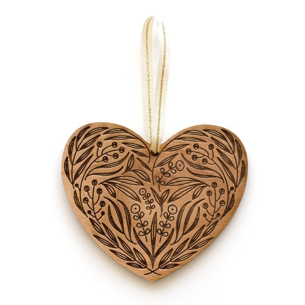 Floral Heart Laser Cut Wood Ornament (Christmas/Holiday / Anniversary/Newlyweds / Keepsake)