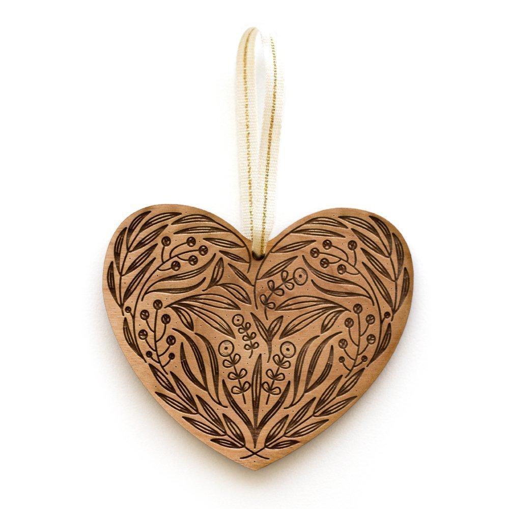 Floral Heart Laser Cut Wood Ornament (Christmas/Holiday / Anniversary/Newlyweds / Keepsake)
