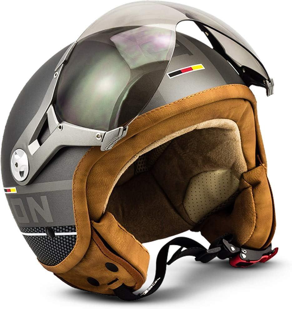 Soxon Sp 325 Plus Titanium Jet Helm Motorrad Helm Roller Helm Scooter Helm Moped Mofa Helm Chopper Retro Vespa Vintage Pilot Biker Helmet Ece 22 05 Visier Schnellverschluss Tasche M 57 58cm Auto