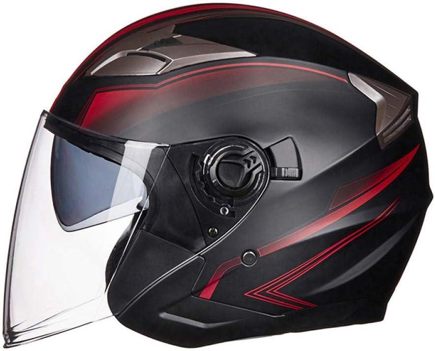 Casque Moto Demi Face Casque Moto s/écurit/é /électrique Double lentille Casque