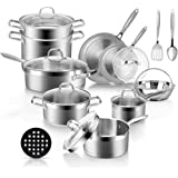 Duxtop Professional Stainless Steel Pots and Pans Set, 18-Piece Induction Cookware Set, Saucepan with Pour Spout and…