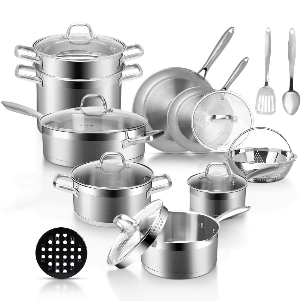 Duxtop Professional Stainless Steel Pots and Pans Set, 18-Piece Induction Cookware Set, Saucepan with Pour Spout and Strainer Lid, Impact-Bonded Technology
