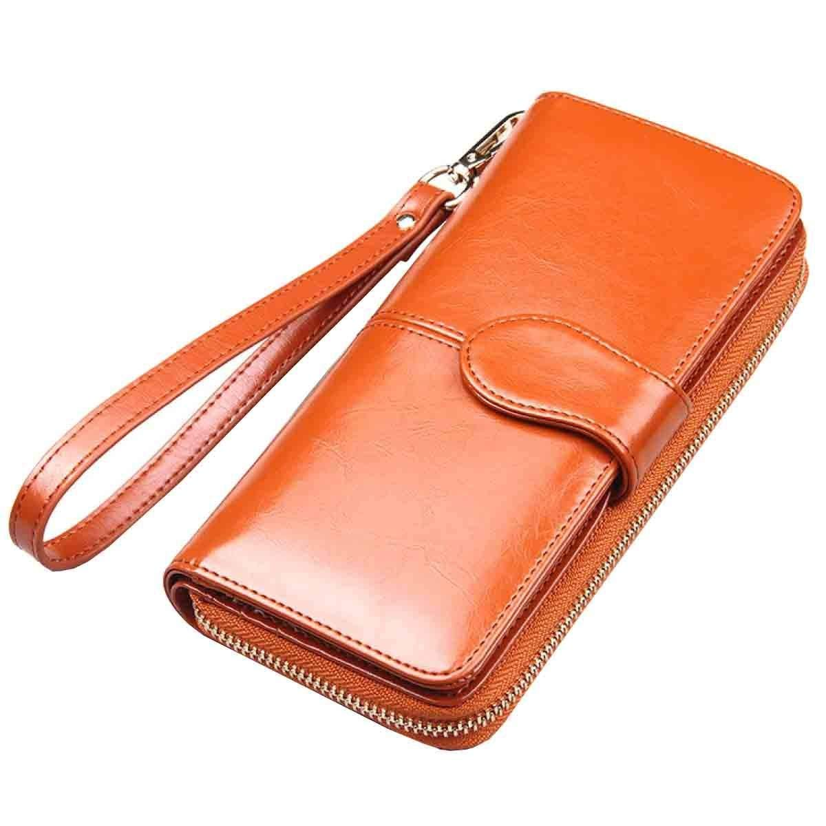 1 Cross Women Large Capacity Leather Zipper Wallet Purse Wristlet Handbag with Removable Wrist Strap for Work (color   5, Size   One Size)