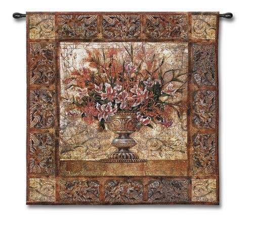 - Floral Tapestry - Woven Tapestry Wall Art Hanging For Home Living Room & Office Decor - Large Floral In Classic Decorative Urn Centerpiece Featuring White And Pink Stargazer Lilies - 100% Cotton - USA