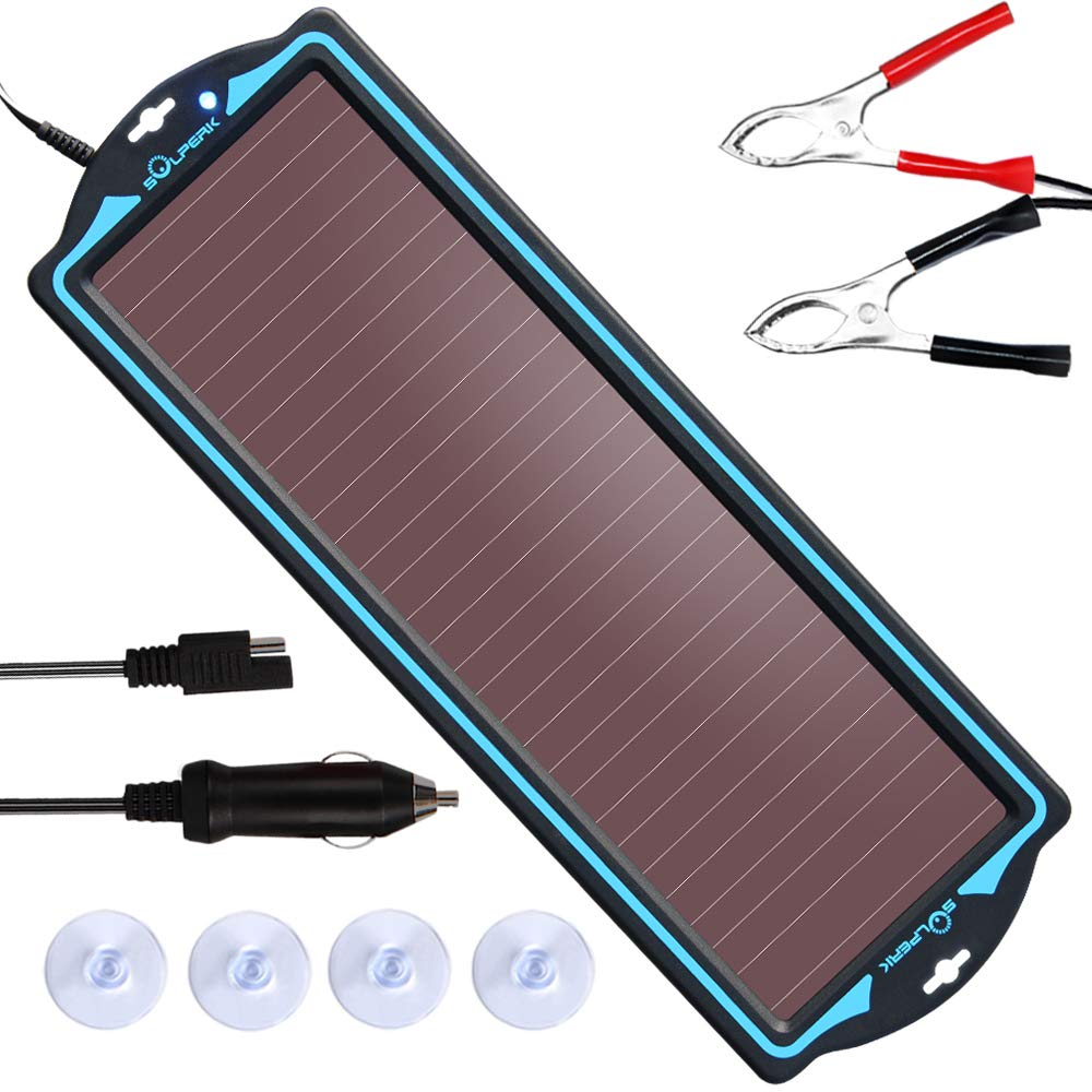 SOLPERK 12V Solar Panel,Solar trickle Charger,Solar Battery Charger and Maintainer,Suitable for Automotive, Motorcycle, Boat, ATV,Marine, RV, Trailer, Powersports, Snowmobile, etc. (1.8W Amorphous) by SOLPERK