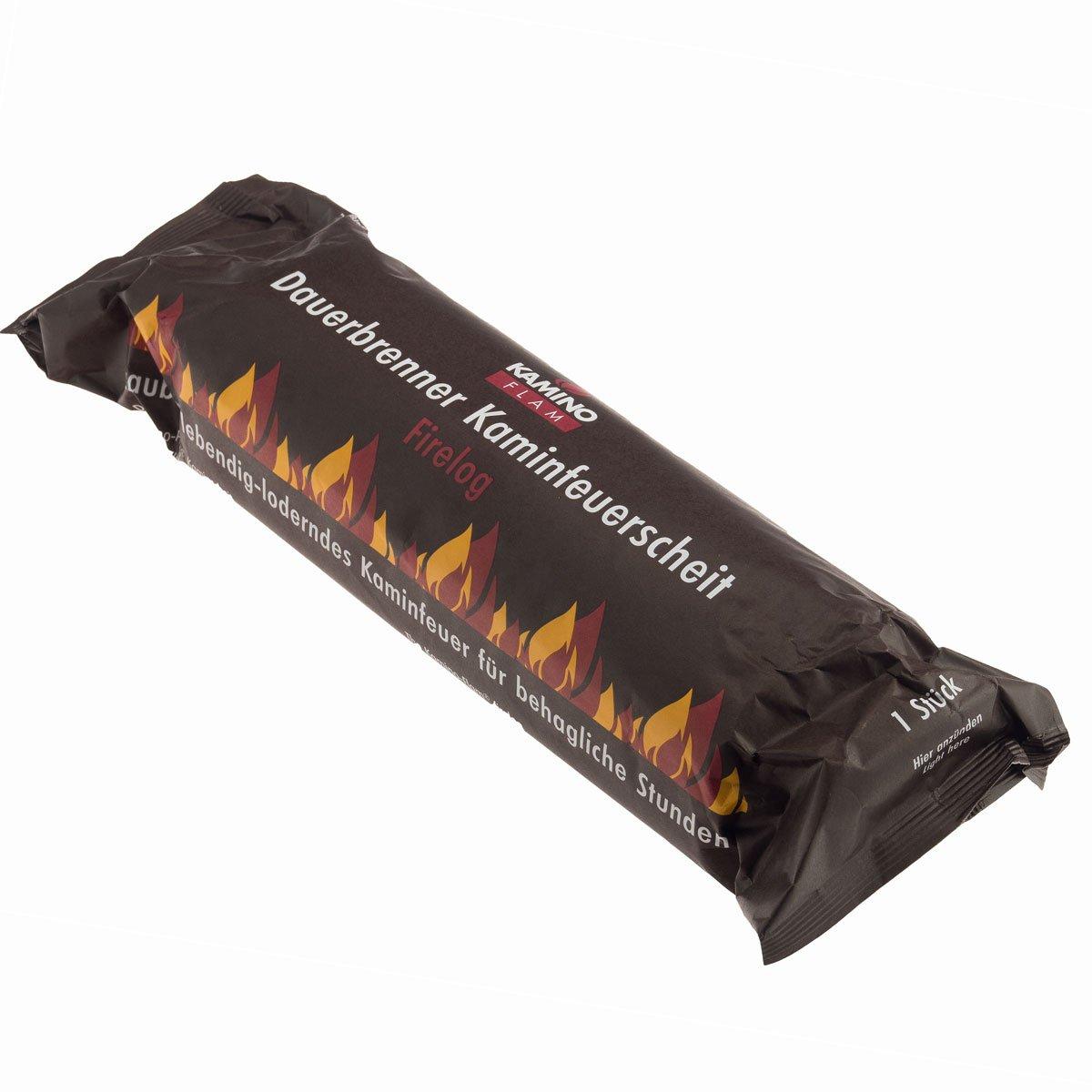 Lot de 10 Kamino Flam (1 carton de 10 barres) - pour feu de cheminée - bûches, combustibles pour cheminées, bois, poêle en faïence