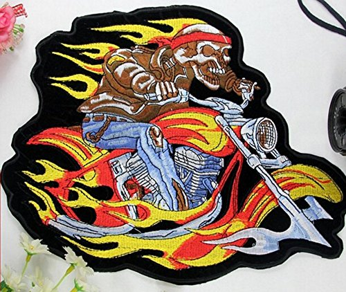 Flaming Skeleton (Motorcycles Flaming Skeleton Embroidered Patch Iron On Patch Bike Rider Large Size 12 x 9 Shipped from USA)
