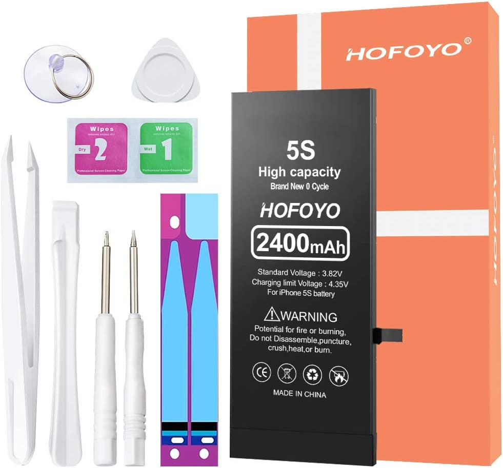 2400mAh Battery for iPhone 5S / 5C (Upgraded), HOFOYO Ultra High Capacity Replacement 0 Cycle Battery Compatible with iPhone 5S / 5C Battery, with Instruction and Professional Replacement Tool Kits