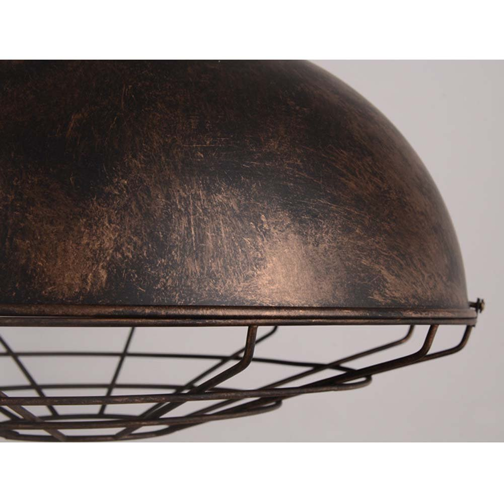 Neo-Industrial Nautical Barn Cage Pendant Light - LITFAD 16'' Single Pendant Lamp with Rustic Dome/Bowl Shape Mounted Fixture Ceiling Light Chandelier in Copper by LITFAD (Image #2)