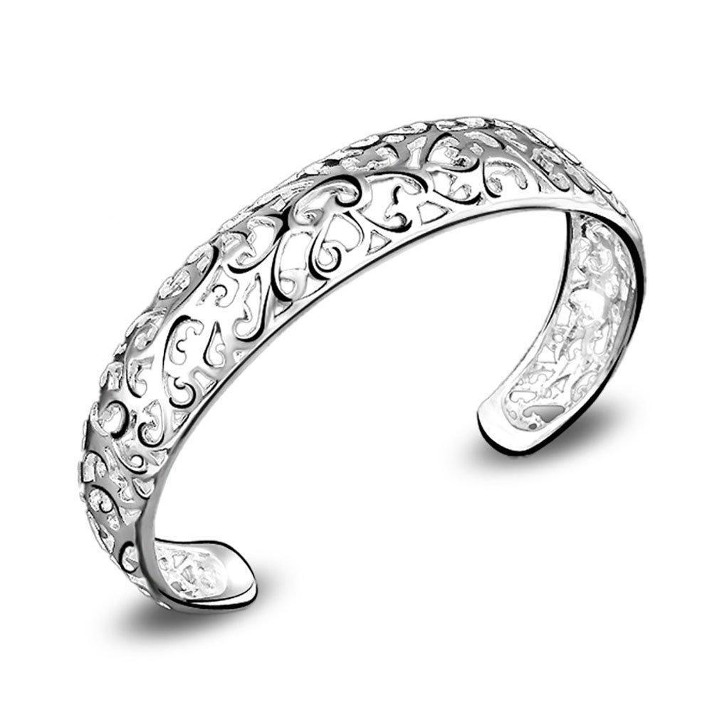 SICHENDZ Women 925 Sterling Silver Fashion Open C-Shape Bracelets Cuff BangleSilver Bracelet