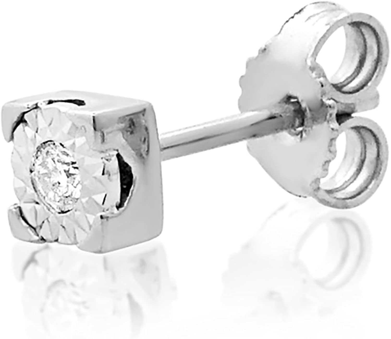 MILLE AMORI ∞ Mono Pendiente Oro y Diamantes Mujer Hombre - Oro Blanco 9 Kt 375 ∞ Diamantes 0.015 Kt - joyas de fantasía