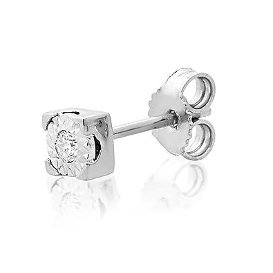 d1ebc90d126b Mono Pendiente Oro y Diamantes Mujer Hombre - Oro Blanco 9 Quilates 375 ♥  Diamantes 0.015 Quilates - joyas de fantasía  Amazon.es  Joyería