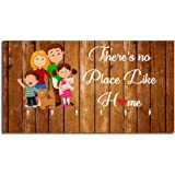 Studio Shubham There's No Place Like Home Wooden Key Holder (23.4cm X 12.8cm X 3cm, Brown)
