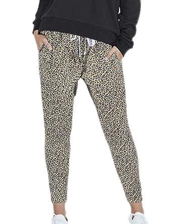 Frecoccialo Pantalon de Jogging Femme Imprimé Léopard Elastique à La Taille  Haute Treggings Femme Amples Jambes e789b63680e
