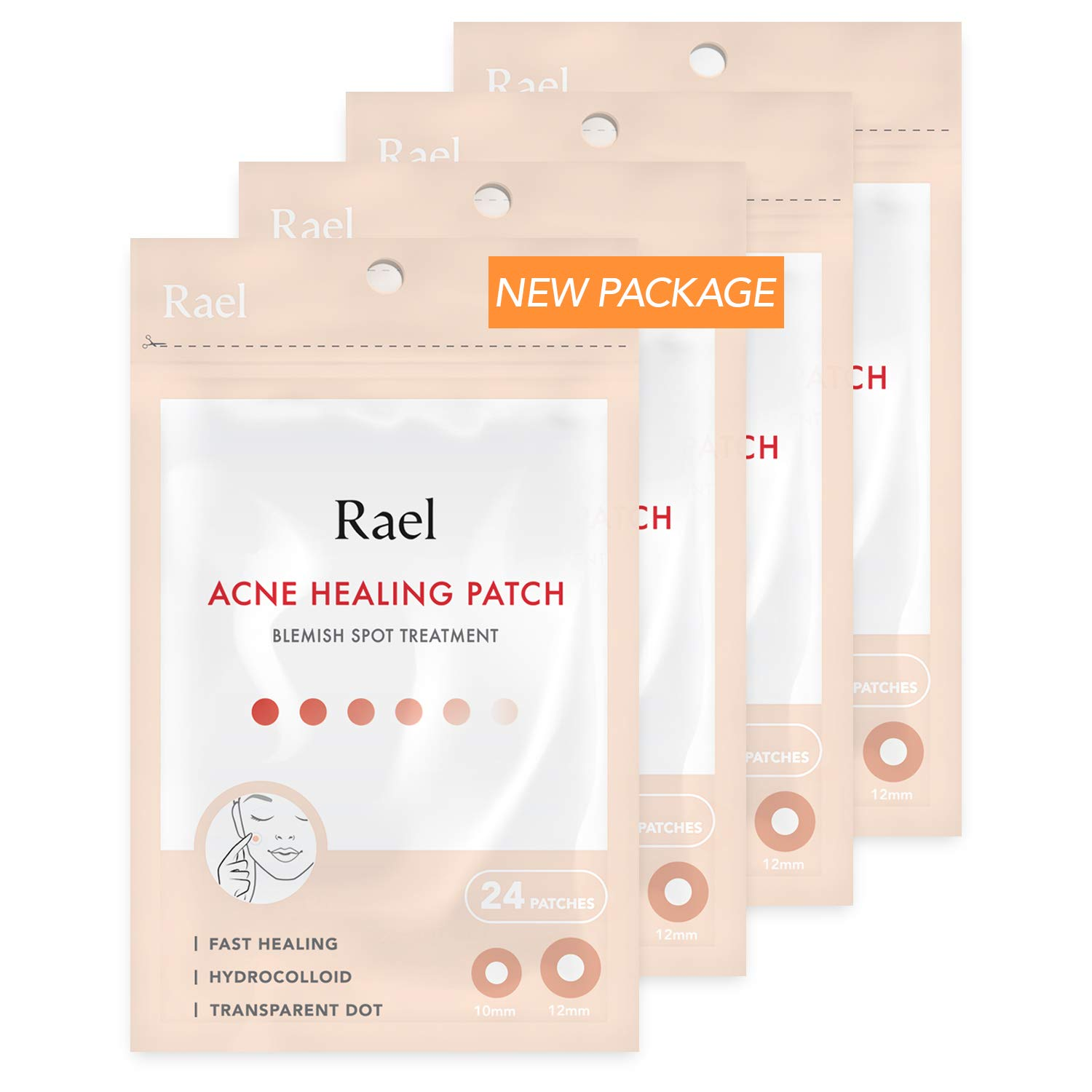 Rael Acne Pimple Healing Patch - Absorbing Cover, Invisible, Blemish Spot, Hydrocolloid, Skin Treatment, Facial Stickers, Two Sizes, Blends in with skin (96 Patches, 4Pack) by Rael
