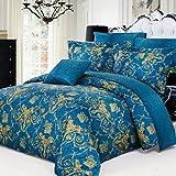 North Home Elizabeth 100% Cotton 4 PC Duvet Cover Set(Queen)