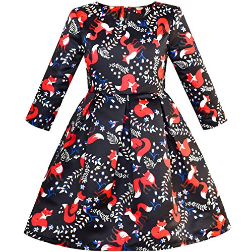 Sunny Fashion LV47 Girls Dress Red Fox Stain Flare Dress 3/4 Sleeve Size 12