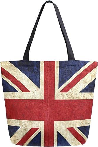 Naanle Bandera británica bolsa de lona grande para mujer, bolso de ...