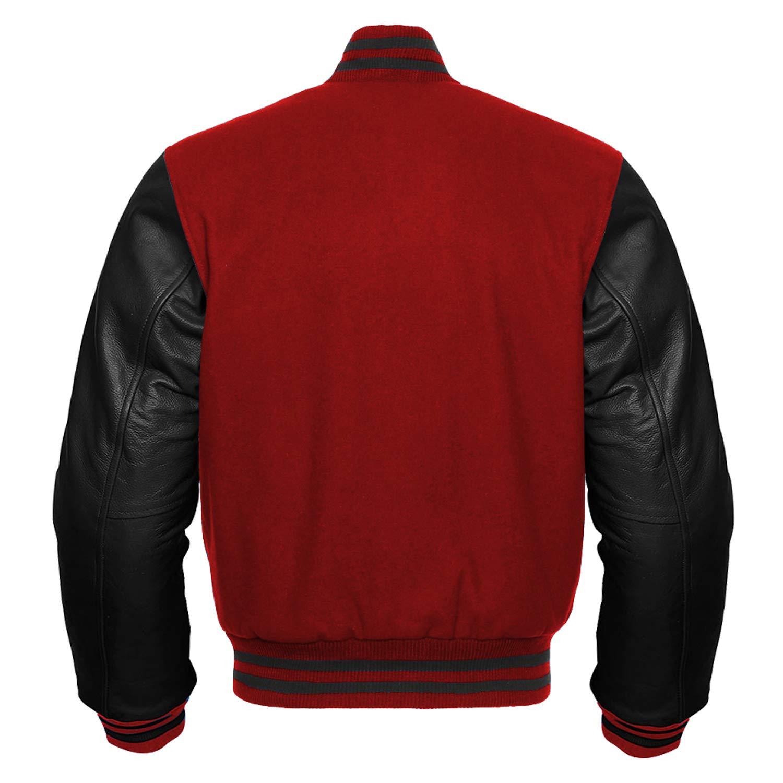 Premium Letterman Baseball School College Bomber Varsity Jacket Wool Blend /& Genuine Leather Sleeves