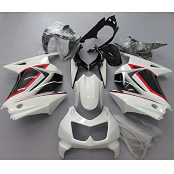 Amazon.com: ZXMOTO Black & White Fairing Kit for Kawasaki ...