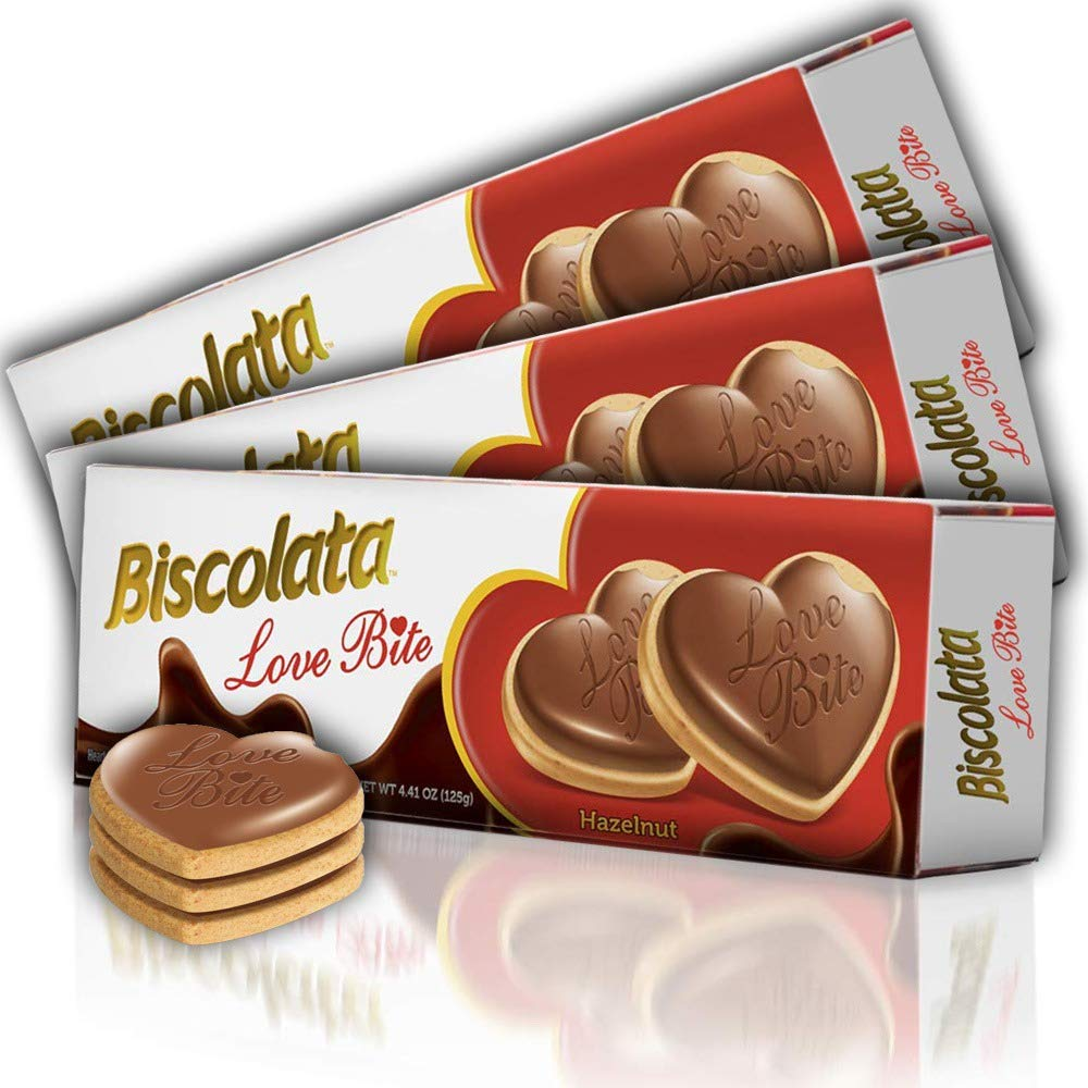 Biscolata Love Bite Chocolate Cookies with Cream Snacks Heart Shaped Cookies (Hazelnut Pack of 3)