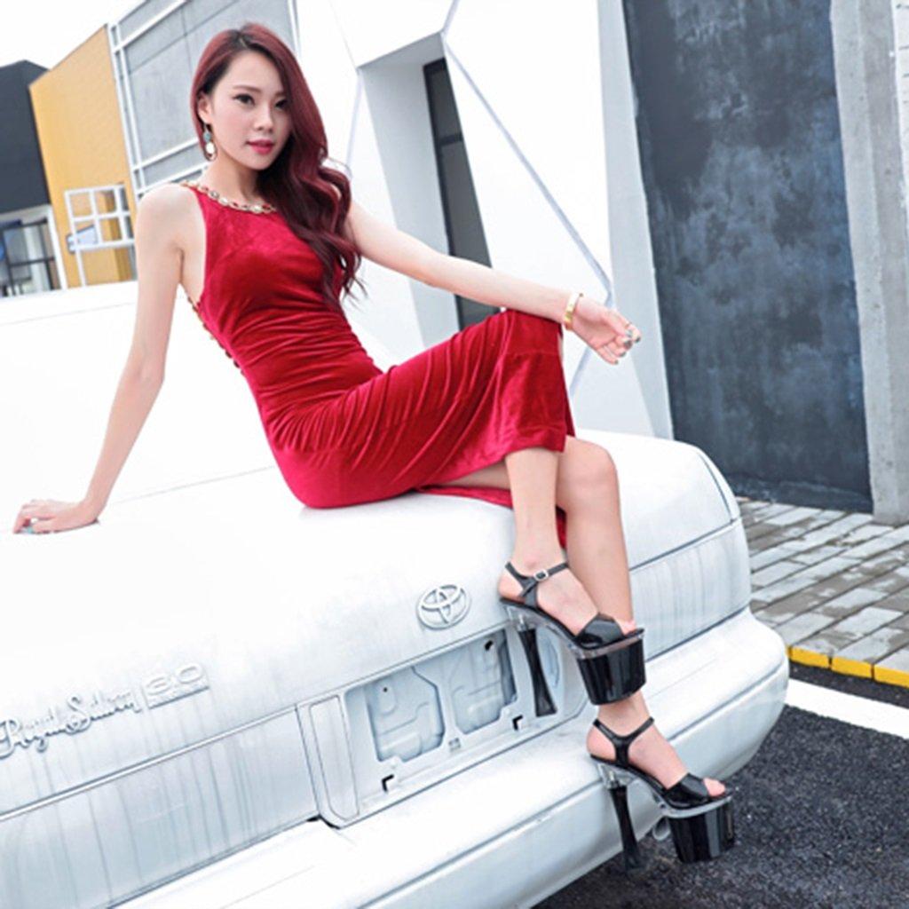 ALUK- Chaussures pour femmes - L'Europe et les Etats-Unis sexy talons 20cm super talons sexy fond épais avec des sandales de femmes ( Couleur : Noir , taille : 36-Shoes long230mm )B07BJ43C8L36-Shoes long230mm Noir ff6ee1