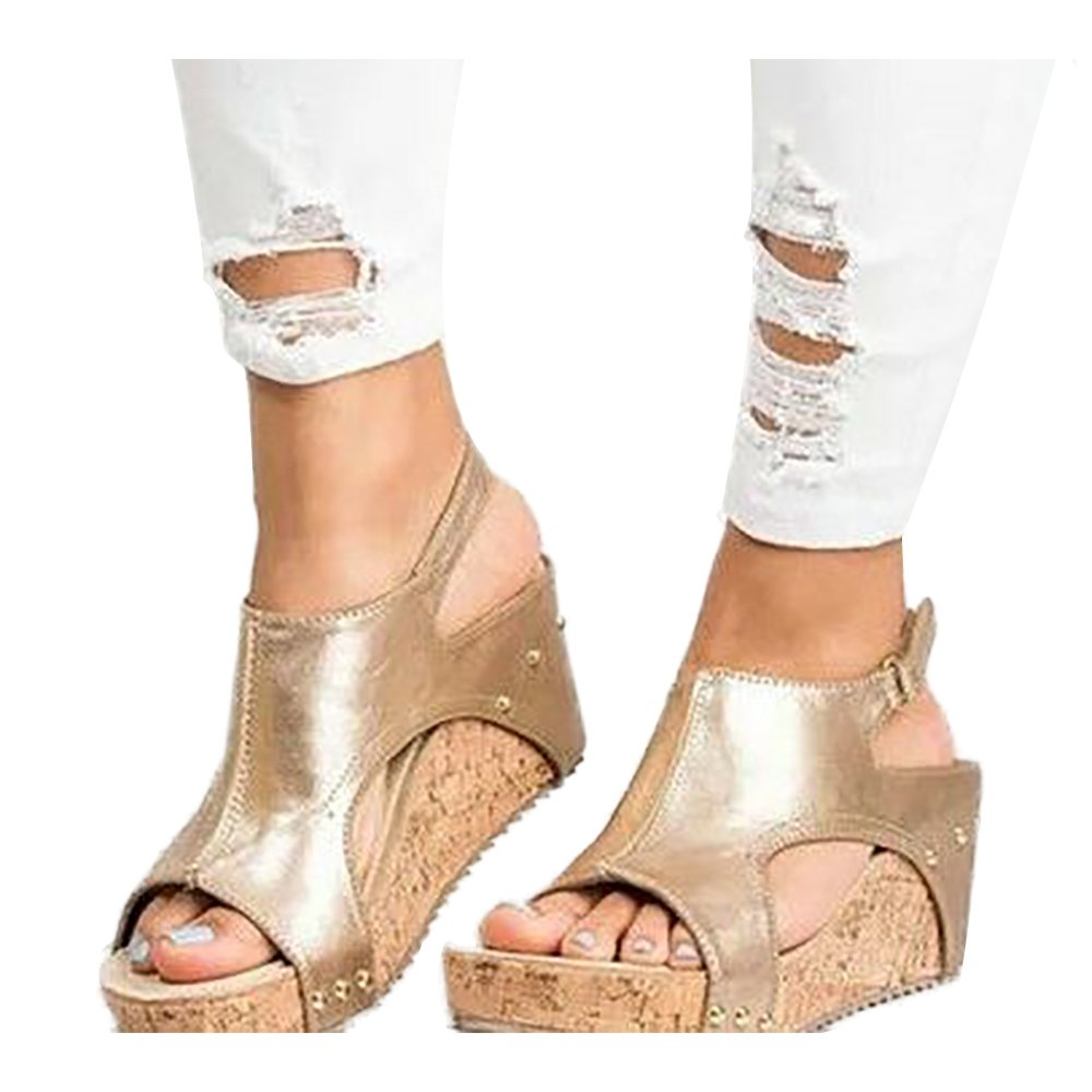 ANAFESTA Peep Toe Wedge Sandals for Women Platform Rome Gladiator Blocking Hook-Loop Summer Shoes B07DGSMYBH 5.5 B(M) US|Gold