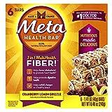 Meta Health Fiber Bar, 100% Natural Psyllium Husk, Cranberry Lemon Drizzle, 6 Bars