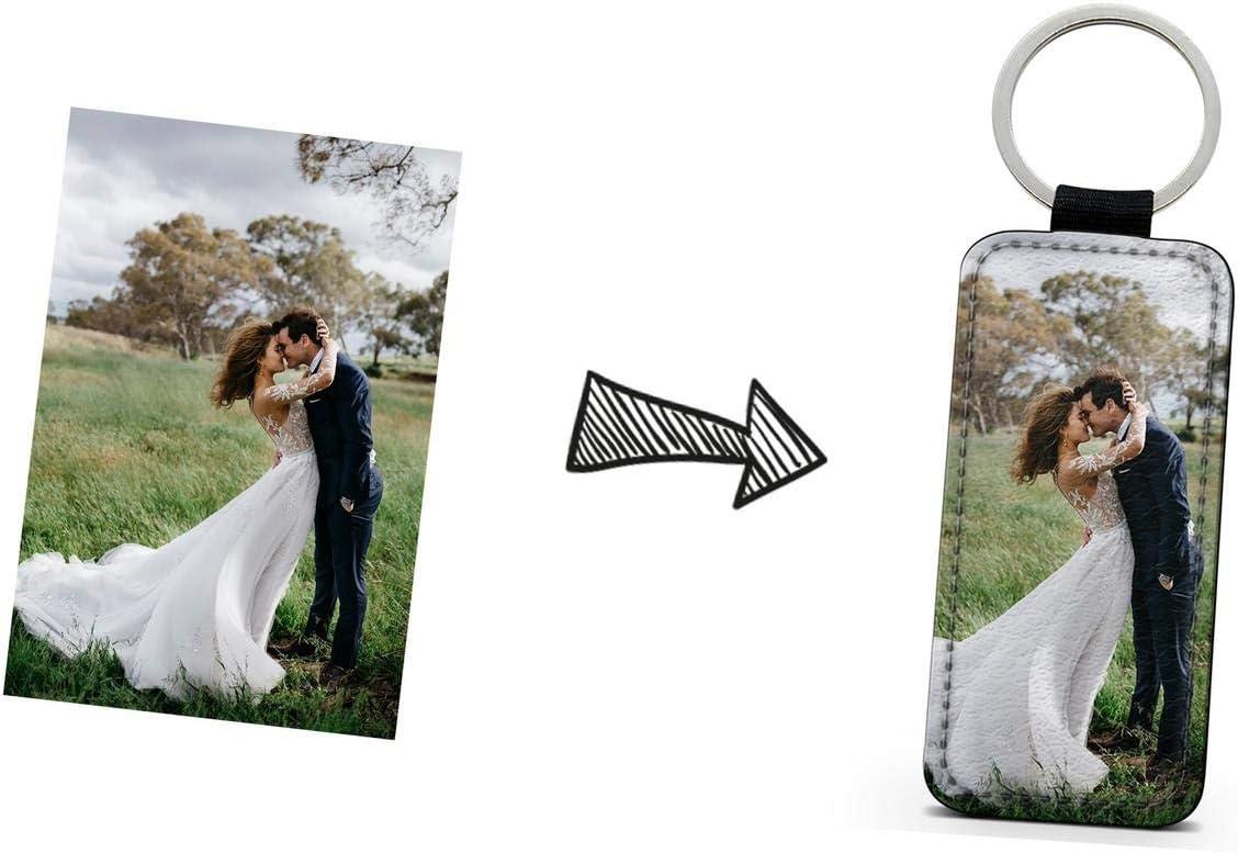 idcasefr Porte-Clef Photo Rectangulaire Simili Cuir Design Porte-Clef Personnalisable avec Votre Propre Image aux Choix