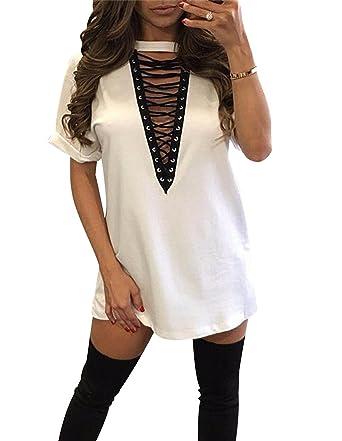 dc0c7b039 ISSHE Vestidos Camisetas Cortos Mujer Verano Fiesta Vestir Casual Mini Vestido  Camiseta Cuello en V Oversize