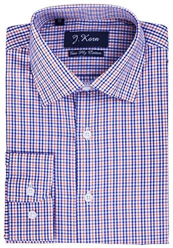 J.Korn Boys Cotton Blend Easy Care Long Sleeve Size 8-20 Dress Shirt FSB12 (14, Royal Blue Plaid)