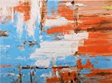 """Studio 500, Museum Quality Canvas Art - The Land of the Abstract 48""""W x 36H"""" Hand Painted Over High Resolution Giclée Printing finished by Artist, Global Collection, YAB11821, READY TO HANG"""