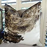Thomas Collection Cowhide Pillow, Dark Tri Color Brown Tan Pearl Decorative Cowhide Pillow, Genuine Brazilian Exotic Cowhide Accent Sofa Pillow, INCLUDES POLYFILL INSERT, Made in America, 16617
