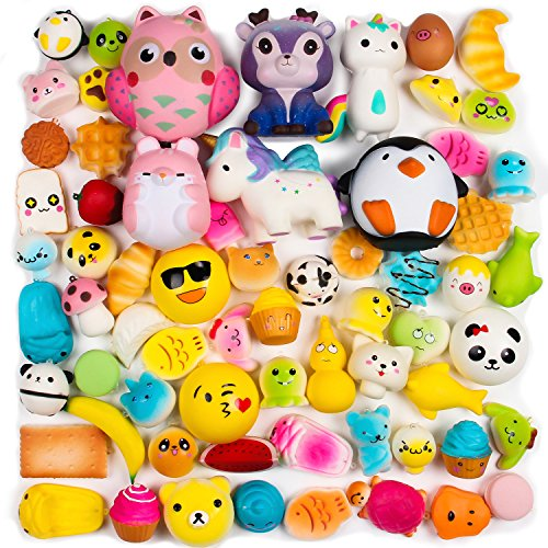 BeYumi Random 16 PCS Squishy Toys(Including 15 PCS Mini + 1 PC Free Big Squishies),Kawaii Soft Cream Scented Slow Rising Food and Animals for children toy