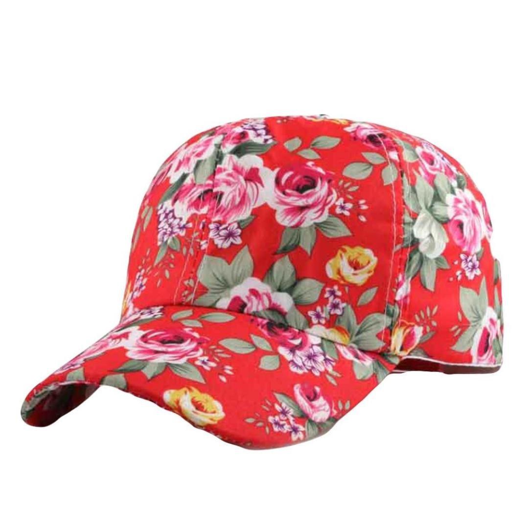 Funic 2018 Clearance Sale Women Baseball Cap Floral Print Snapback Hat Hip-Hop Adjustable (Red)