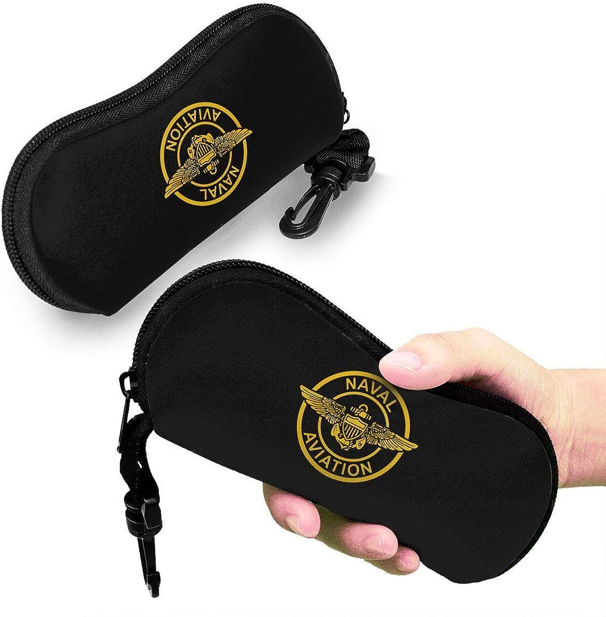 Hdadwy Estuches para anteojos con alas de piloto de aviaci/ón naval con mosquet/ón estuche blando para gafas de sol
