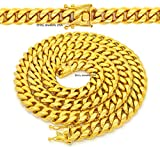 MENS 15mm HIP HOP HEAVY GOLD FINISH MIAMI CUBAN LINK CHAIN NECKLACE OR BRACELET WITH BOX CLASP